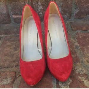 Zara Red Suede Gold Heel